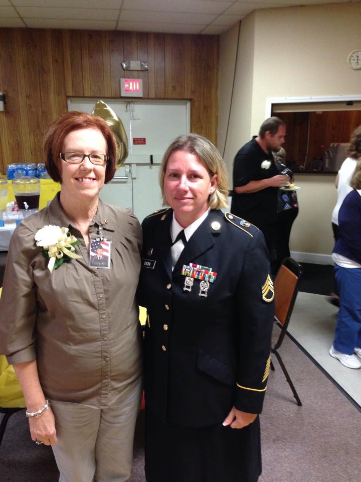 Gold Star Mother Audrey Mayers, with Staff Sergeant Melissa Dion